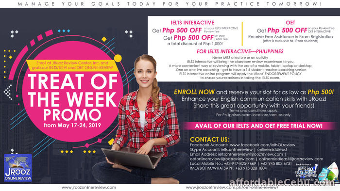1st picture of IELTS/UKVI and OET Online Review Treat Of the Week Promo from May 17-24, 2019 Offer in Cebu, Philippines