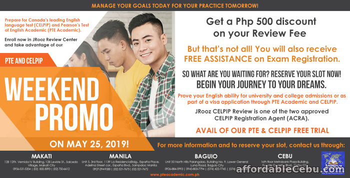 1st picture of JROOZ CELPIP & PTE ACADEMIC WEEKEND PROMO May 25, 2019 Offer in Cebu, Philippines