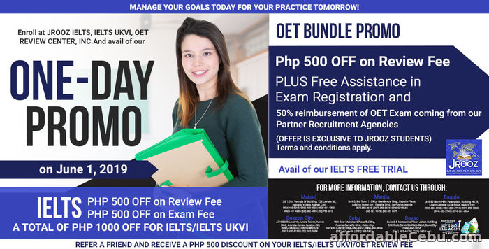 1st picture of JROOZ IELTS & OET One-Day Promo June 1, 2019 Offer in Cebu, Philippines