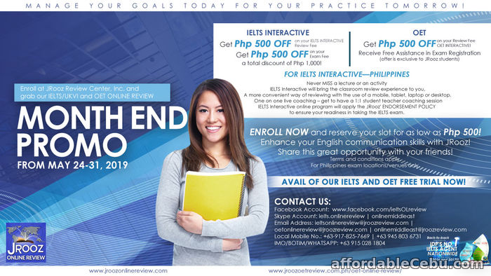 1st picture of JROOZ IELTS/UKVI & OET Online review Month End Promo from May 24-31, 2019 Offer in Cebu, Philippines