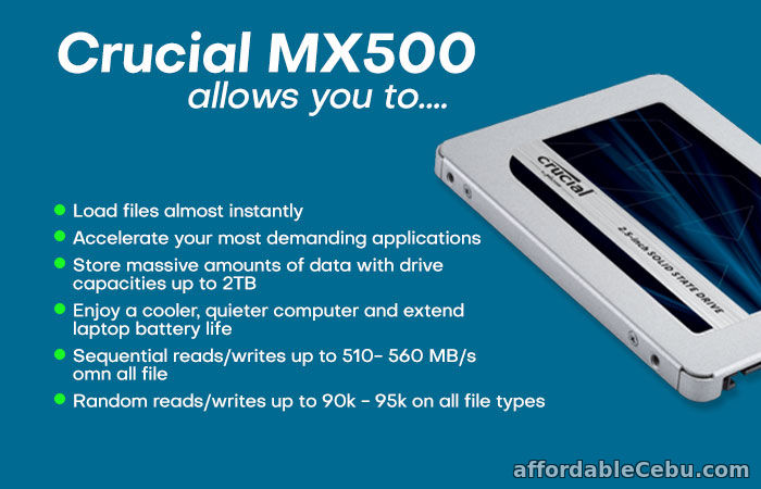 3rd picture of CRUCIAL MX500 500GB 2.5inch SSD For Sale For Sale in Cebu, Philippines