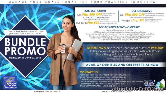 1st picture of JRooz IELTS/UKVI and OET Online Bundle Promo May 31-June 07, 2019 Offer in Cebu, Philippines