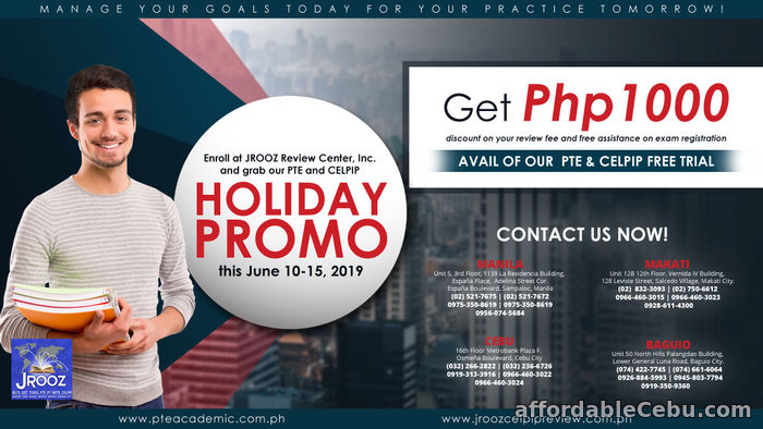 1st picture of JROOZ PTE & CELPIP holiday Promo on June 10-15, 2019 Offer in Cebu, Philippines