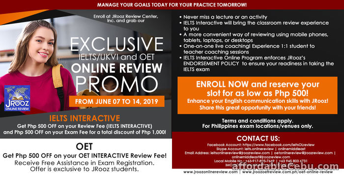 1st picture of JROOZ Exclusive IELTS/UKVI and OET Online Review Promo June 7 – 14, 2019 Offer in Cebu, Philippines