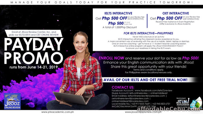 1st picture of JROOZ IELTS AND OET ONLINE PAYDAY PROMO June 14-21, 2019 Offer in Cebu, Philippines