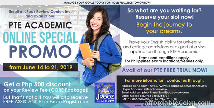 1st picture of JROOZ PTE Academic Online Special Promo June 14-21, 2019 Offer in Cebu, Philippines