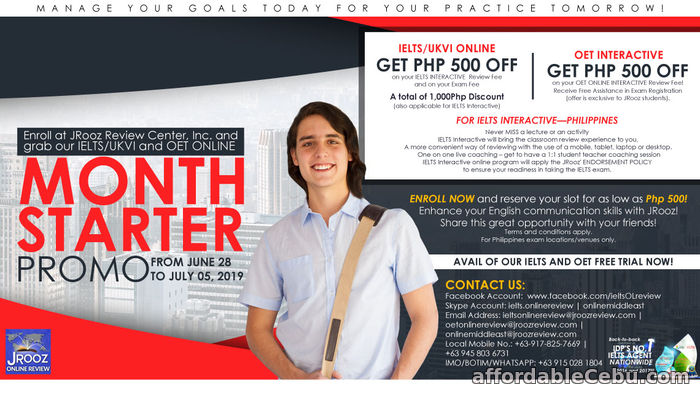 1st picture of JROOZ IELTS & OET ONLINE MONTH – STARTER PROMO June 28-July 5, 2019 Offer in Cebu, Philippines