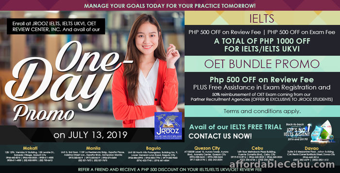 1st picture of JROOZ IELTS & OET One-Day Promo July 13, 2019 Offer in Cebu, Philippines