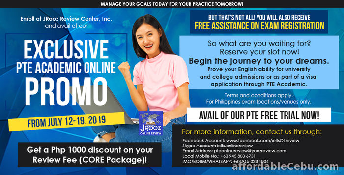 1st picture of JROOZ Exclusive PTE Academic Online Promo July 12-19, 2019 Offer in Cebu, Philippines