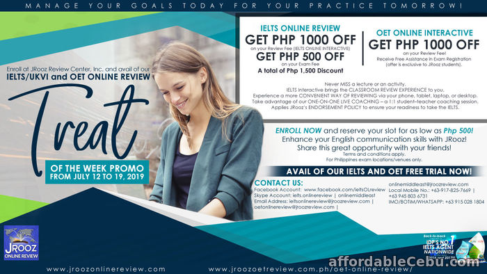 1st picture of JROOZ IELTS/UKVI and OET Online Review Treat of the Week Promo from July 12-19, 2019 Offer in Cebu, Philippines