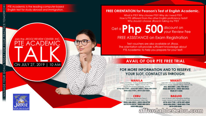 1st picture of JROOZ Review – PTE Academic TALK July 27, 2019 Offer in Cebu, Philippines