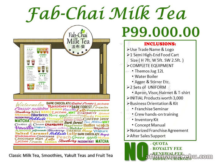 1st picture of Fab Chai Milk Tea Franchise Offer in Cebu, Philippines