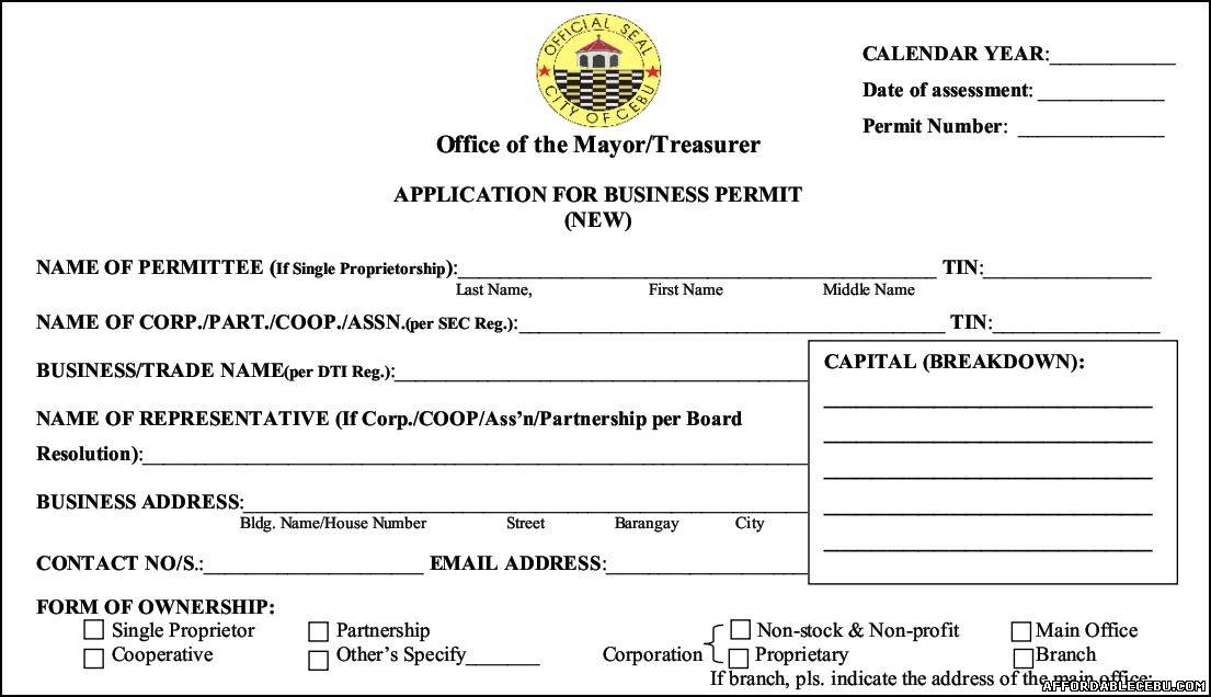 Cebu Business Permit Application Form - Business 119