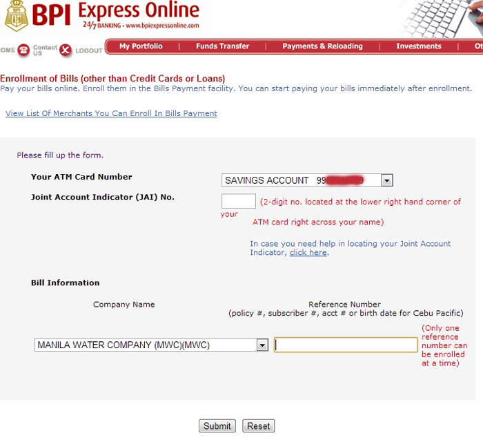 How To Pay Water Bill (Manila Water Company) Through BPI