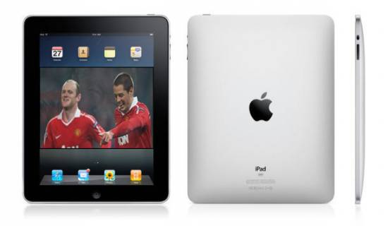 Picture of World's Most Popular Football Team, Manchester United (MU) armed with iPad