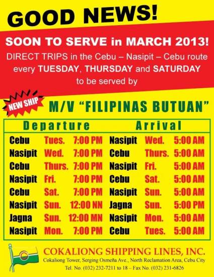 Picture of Cokaliong Cebu-Nasipit-Jagna Shipping Schedule (Latest Schedule)