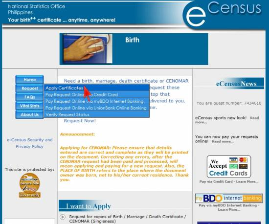 Picture of How to Get and Pay CENOMAR Using Unionbank Online Banking