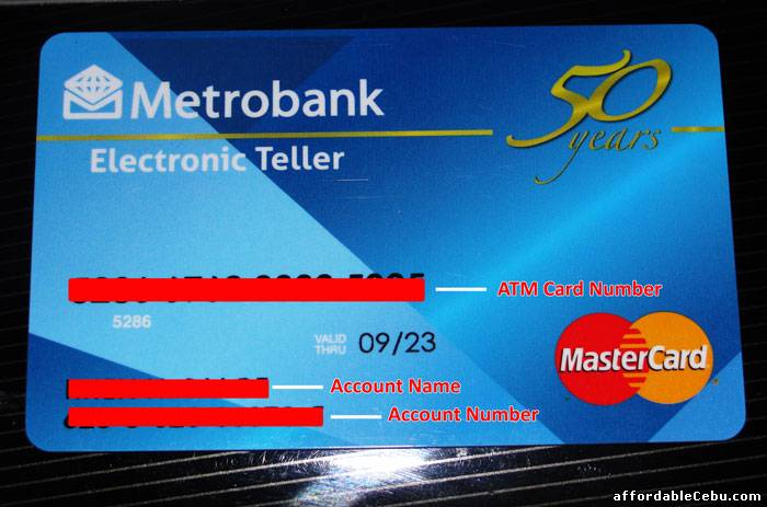 Where to find the Account Number in Metrobank ATM Card ...