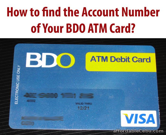 how to find the account number of bdo atm card  banking