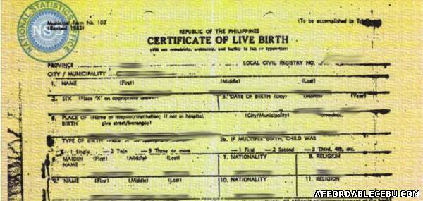 certificate of registration of birth