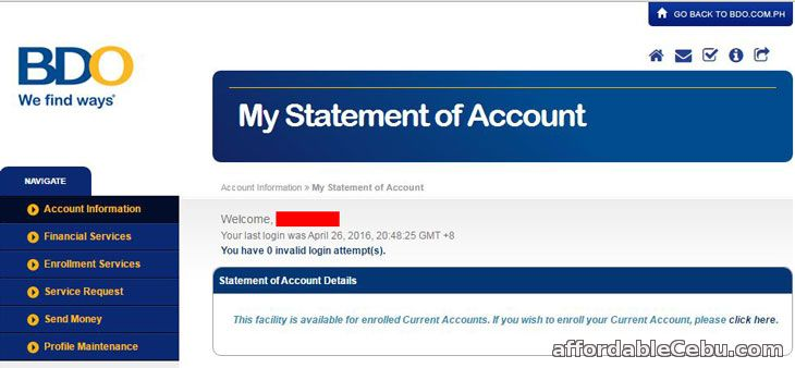 How To Get Bdo Statement Of Account Online  Banking