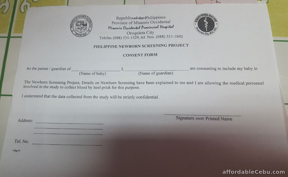 be classified as_Philippine Newborn Screening Project Consent Form - Philippine Government 30440