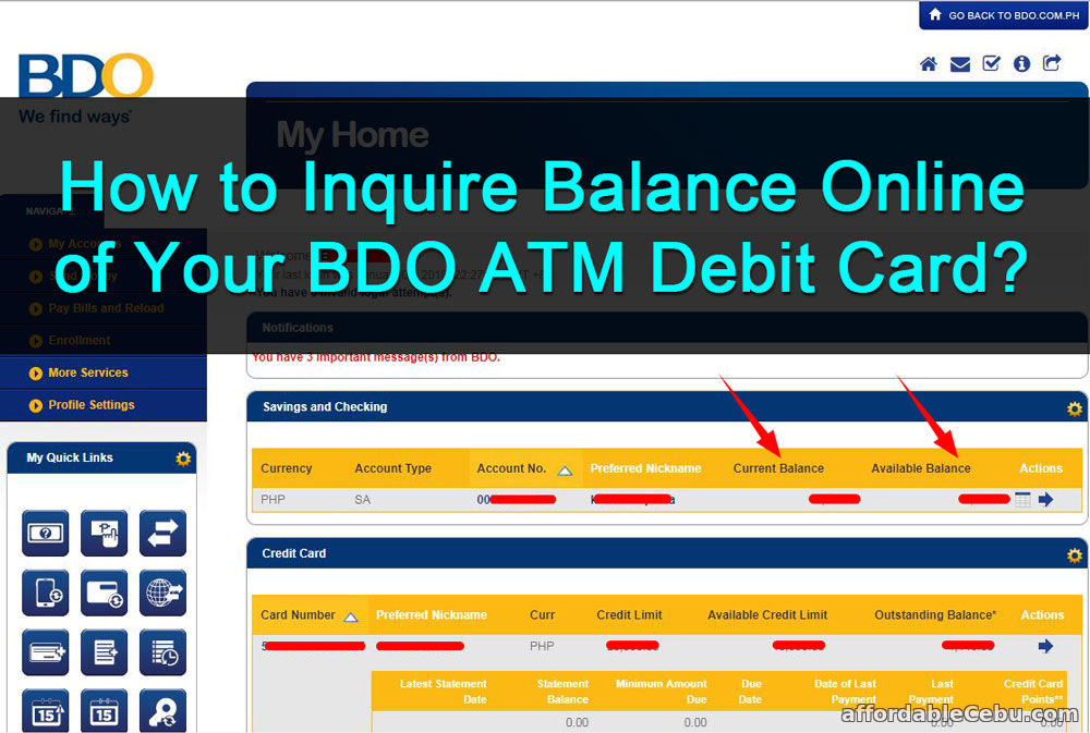 how to inquire balance online of bdo atm debit card banking 30598. Black Bedroom Furniture Sets. Home Design Ideas