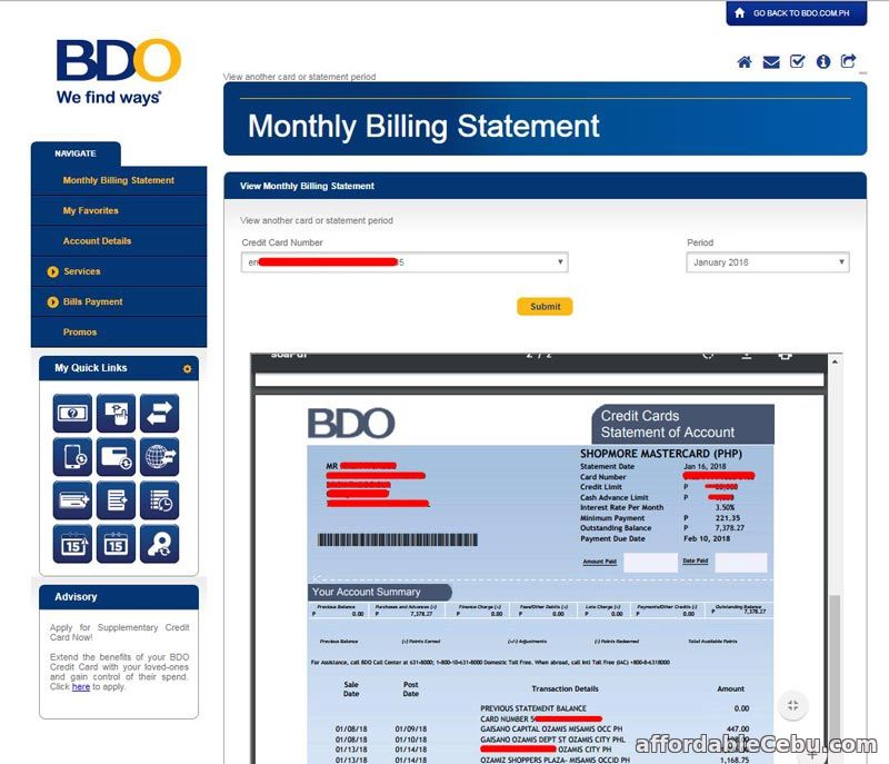 How To View Your Bdo Credit Card Billing Statement  Banking