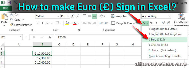 how to make euro   u20ac  sign in excel