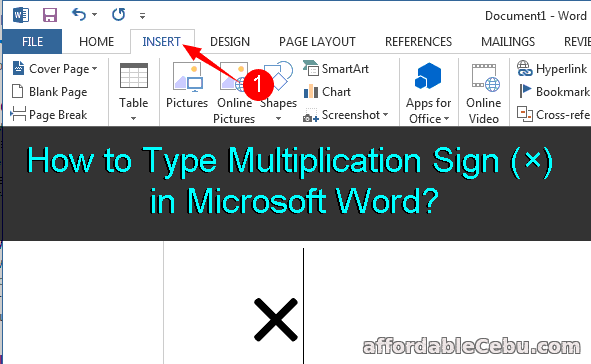 How To Type Multiplication Sign 215 In Microsoft Word