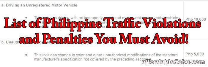 Traffic Violations and Penalties in Philippines