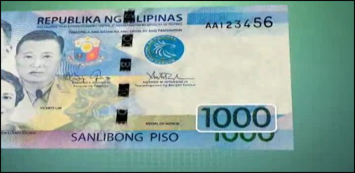 1000 embossed denomination value