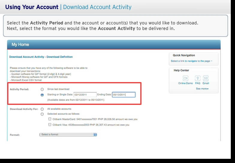 Acitivity Period and Account to Download in Citibank online banking