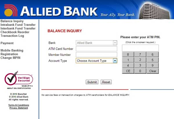 Allied Bank Online ATM Banking Interface