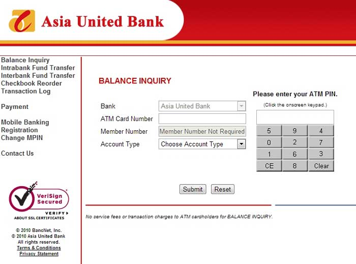 Asia United Bank Online ATM Banking Interface