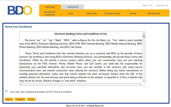 BDO internet banking terms and conditions