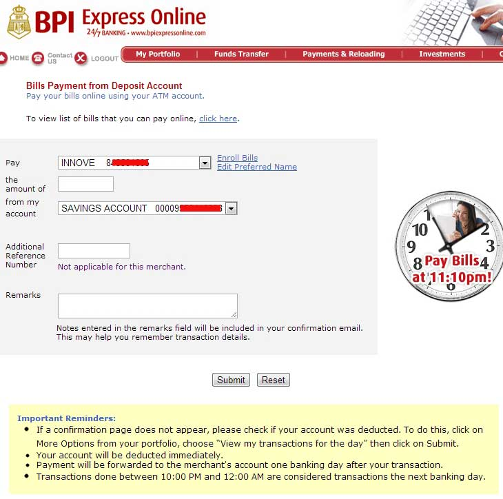 BPI Online Bills Payment to Globe Innove