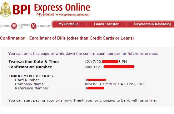 BPI confirmation letter of successful Globe Biller enrollment