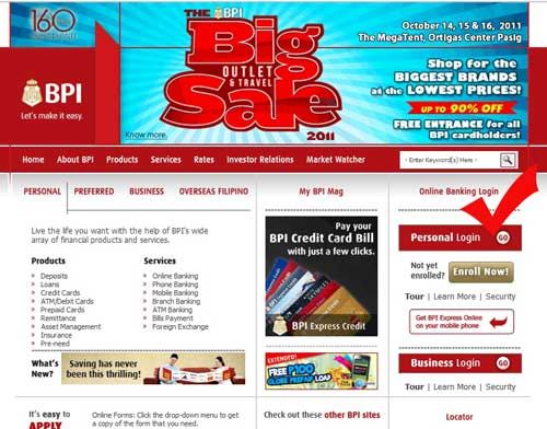 BPI online banking log-in