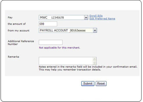 BPI Online Banking Payment Form