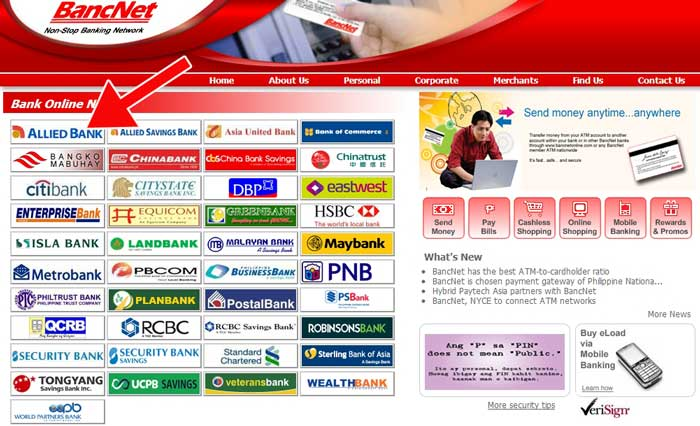 Bancnet website with Allied Bank ATM Online
