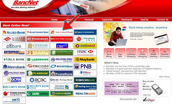 Bancnet website with Asia United Bank