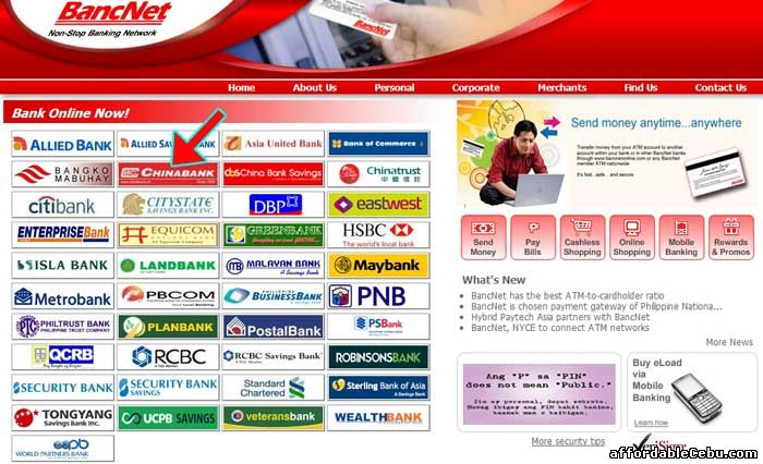 Bancnet website with Chinabank