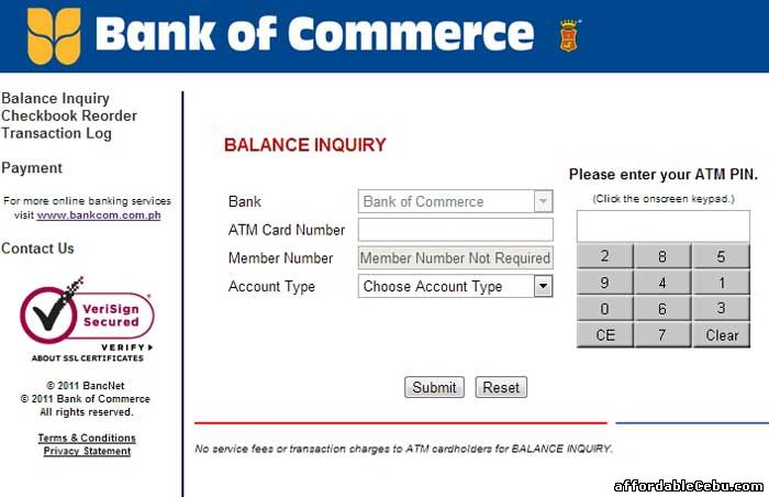 Bank of Commerce Online ATM Banking Interface