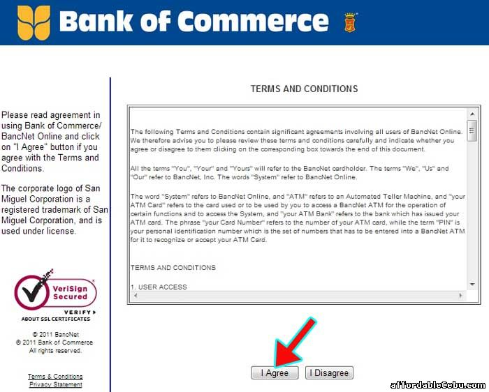 Bank of Commerce Terms and Conditions with Bancnet
