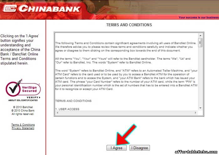 ChinaBank Terms and Conditions with Bancnet