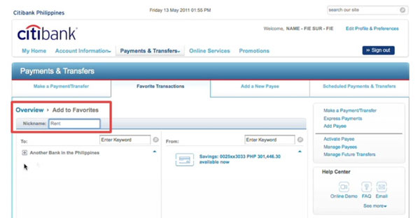 Citibank online banking add to favorites