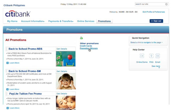Citibank online banking promotions