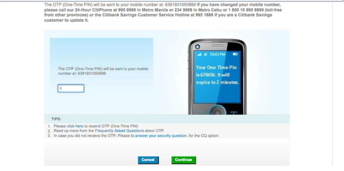 Citibank online banking registration using credit card