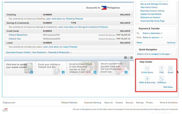 Citibank online banking support and help